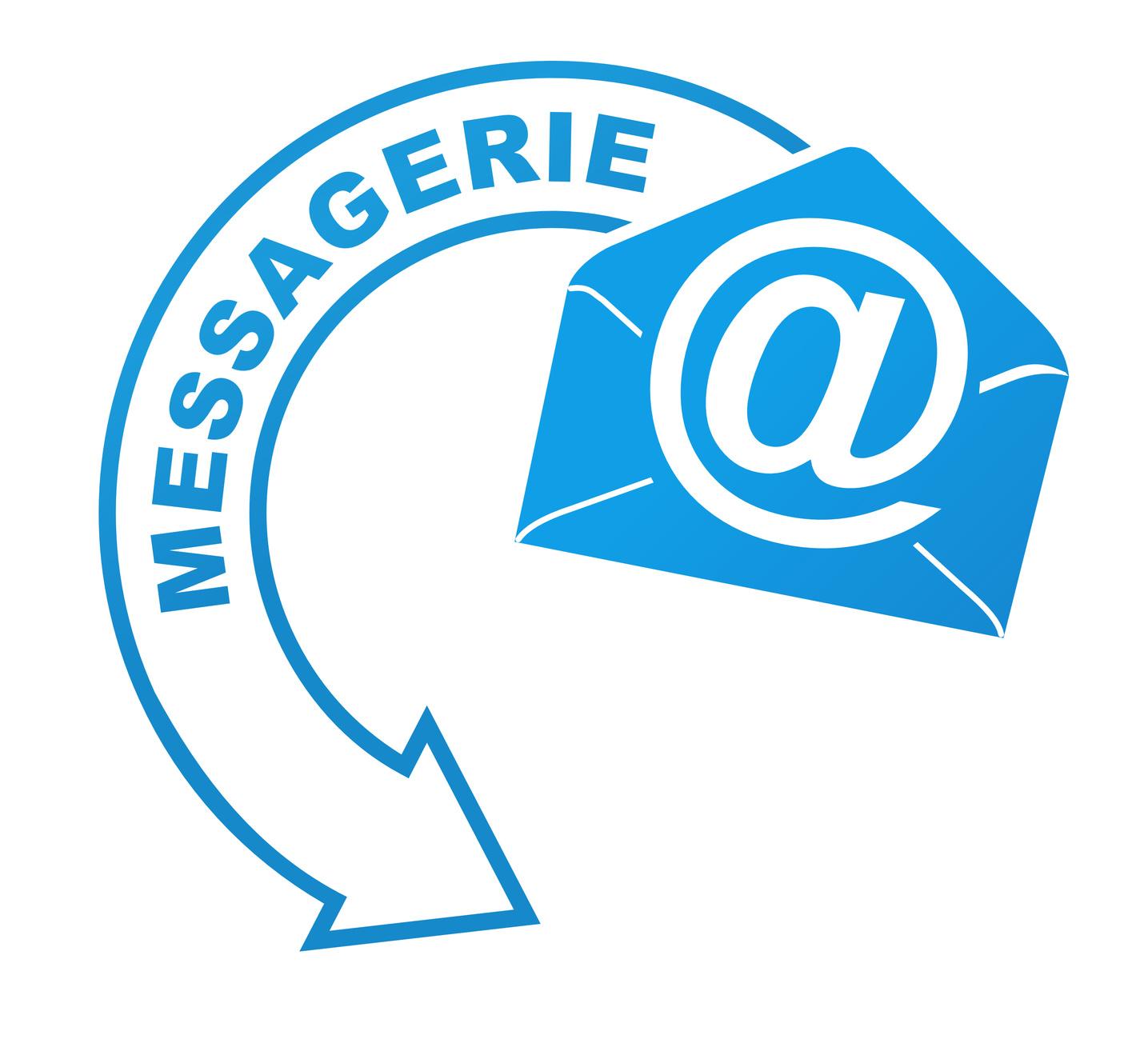 messagerie sur symbole valid bleu